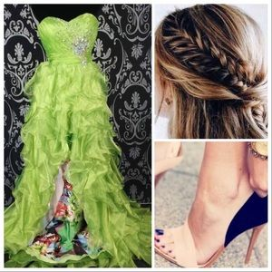 Bright green hi-low print gown